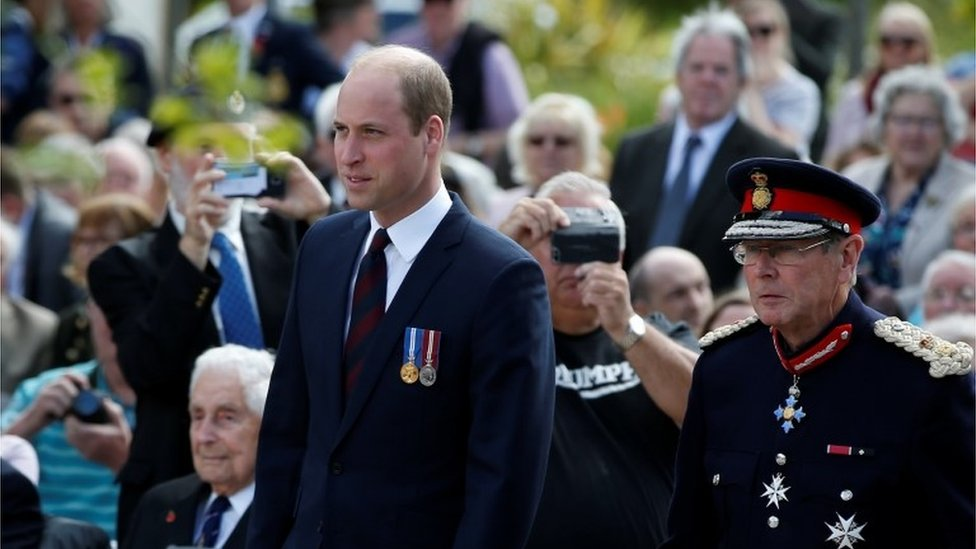 Prince William attending a service at the National Memorial Arboretum