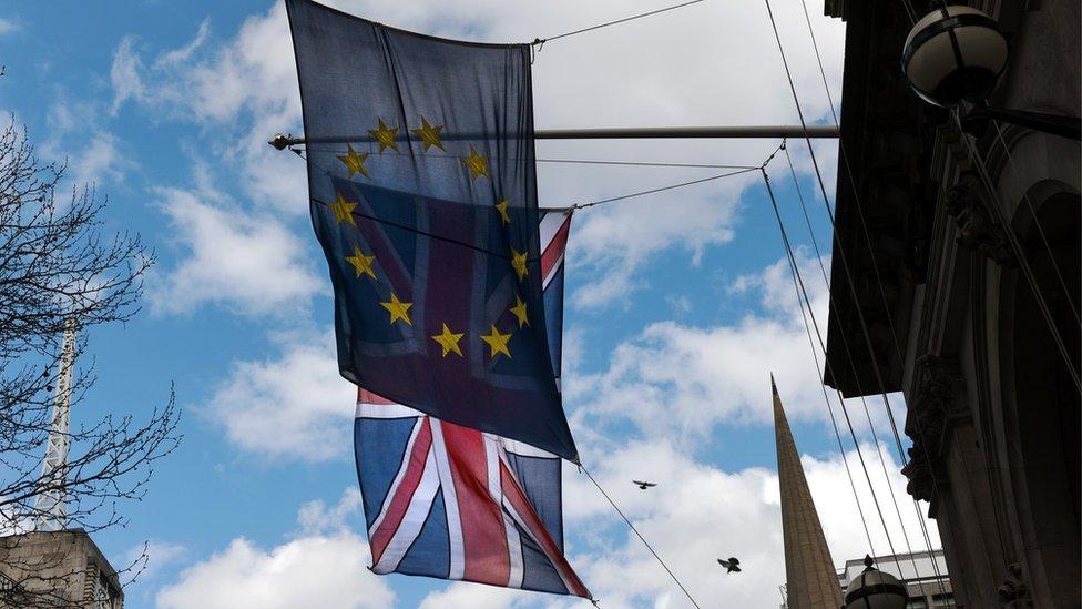 The EU flag and the Union Jack