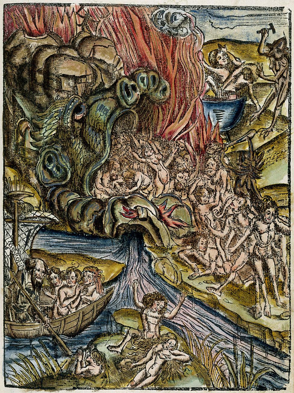 Xilografía coloreada a mano tomada de la sección 'Filosofía natural' de 'Margarita Philosophica' ('La perla filosófica'), por Gregor Reisch 1503