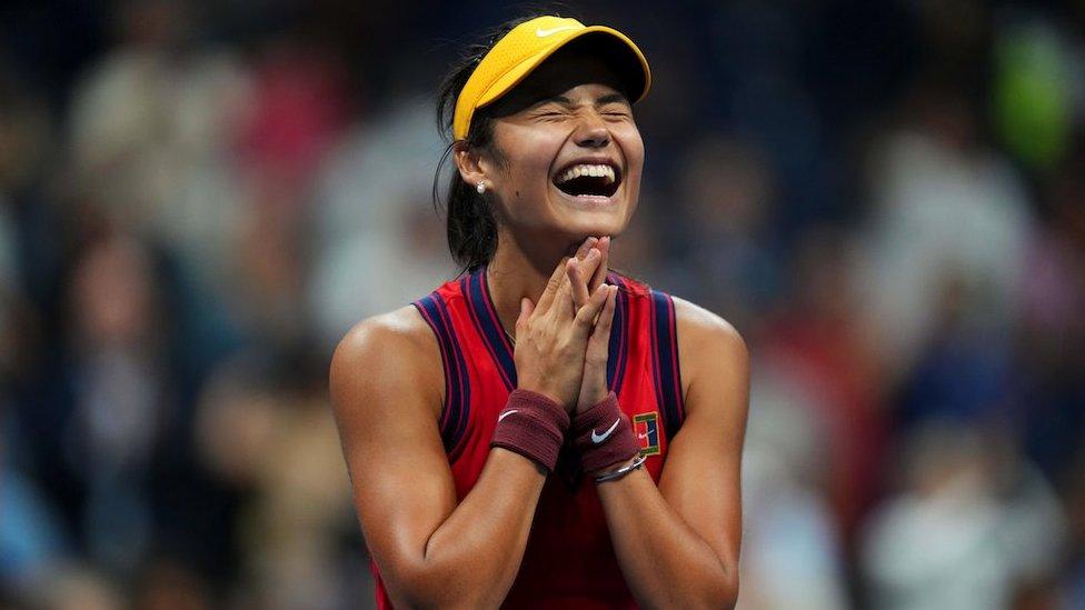 Emma Raducanu celebrates reaching the US Open final after beating Maria Sakkari of Greece (not pictured) on 9 Sept