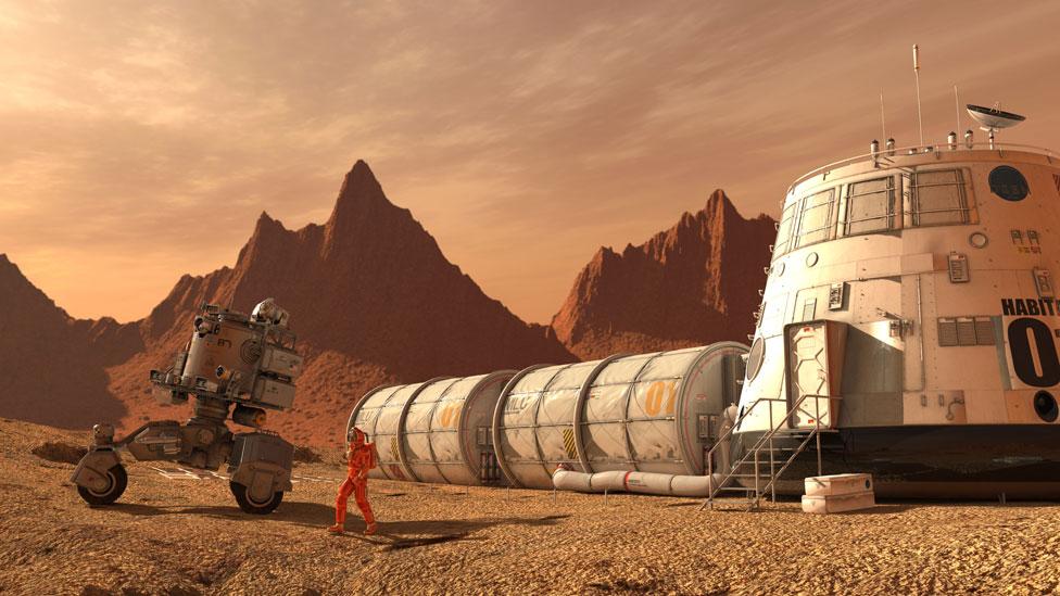 Ilustración de cómo se vería un asentamiento humano en Marte