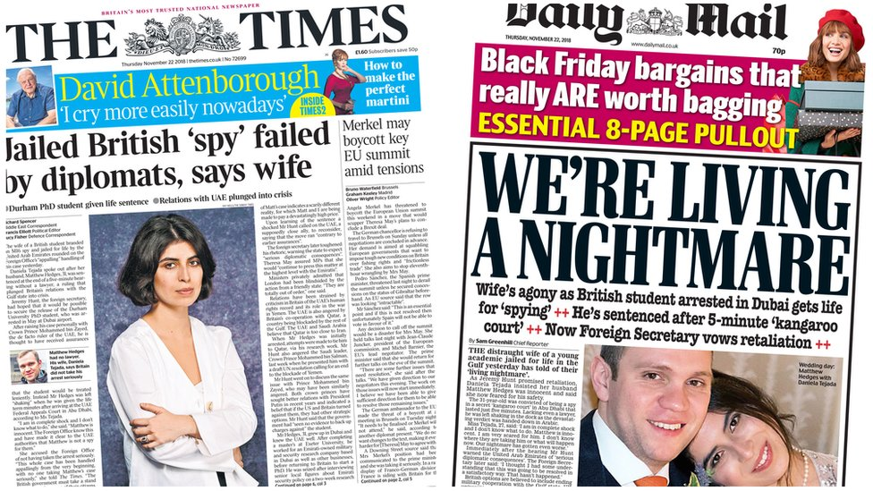 Composite image showing Times and Mail front pages