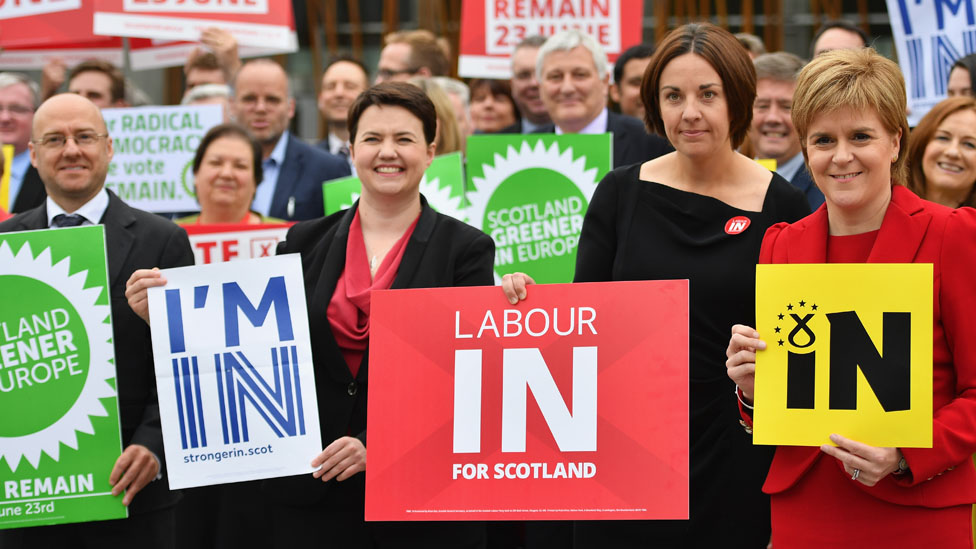 Ruth Davidson campaigning with other political leaders
