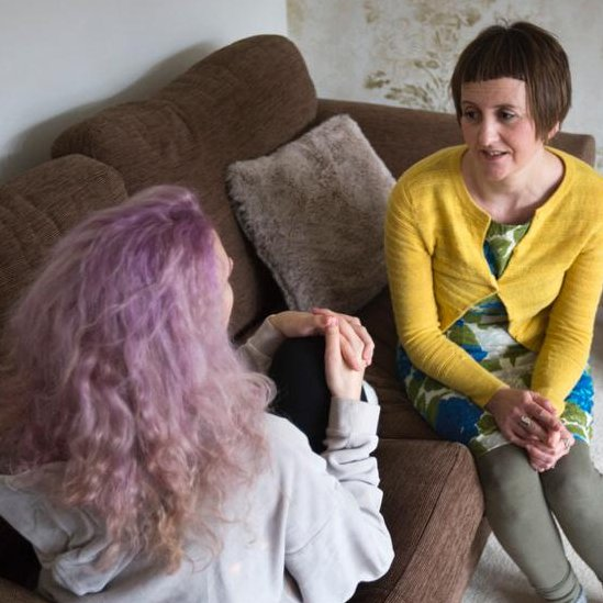 Rachel talks to her eldest daughter (who has her back to camera)