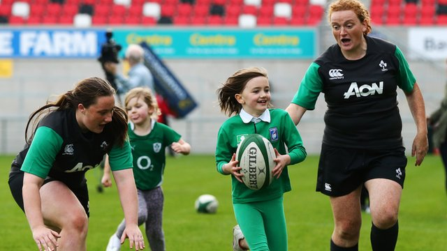 Eight-year-old Gracie Kelly-Cole sprints past two Ireland players