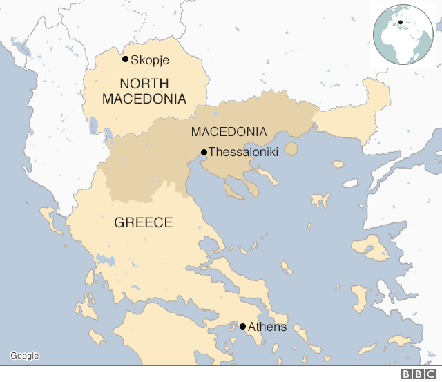 Map showing Greece and North Macedonia