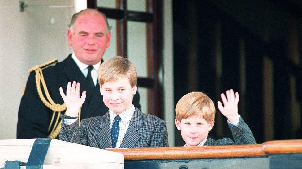 Princes on royal yacht