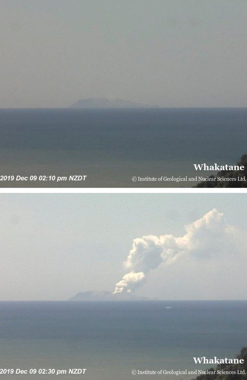 Combinación de imágenes que muestran al volcán poco antes y poco después de la erupción.