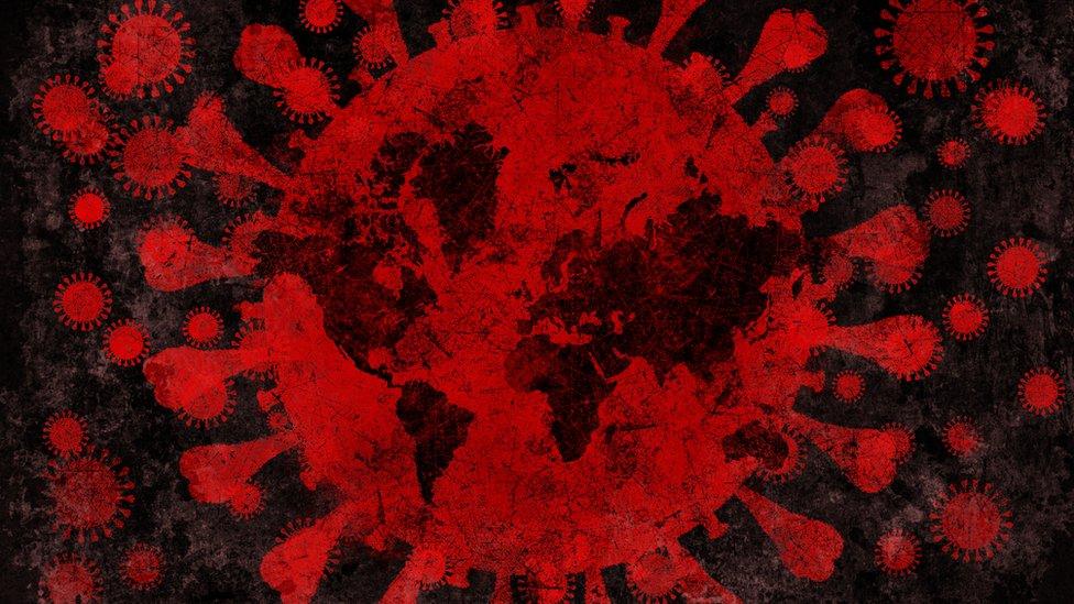 Ilustración del mundo tomado por coronavirus