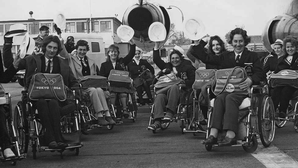 The British team at London Airport, en route to Tokyo for the Summer Paralympic Games, 4th November 1964