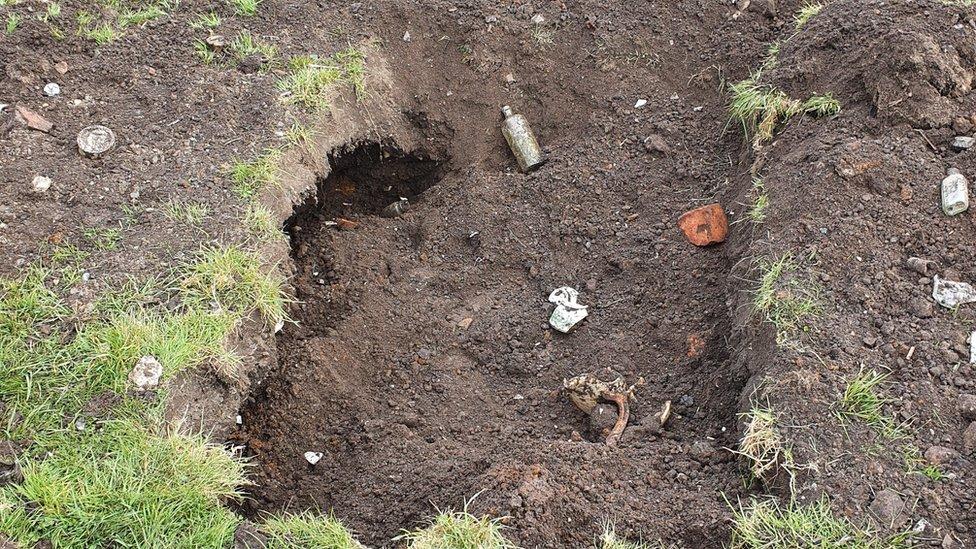 Debris in hole