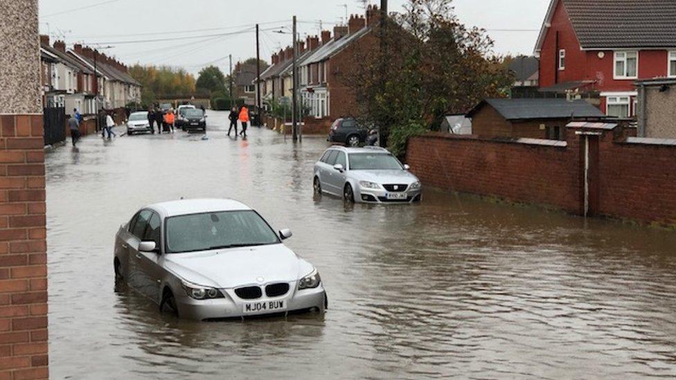 Flood water in Bentley