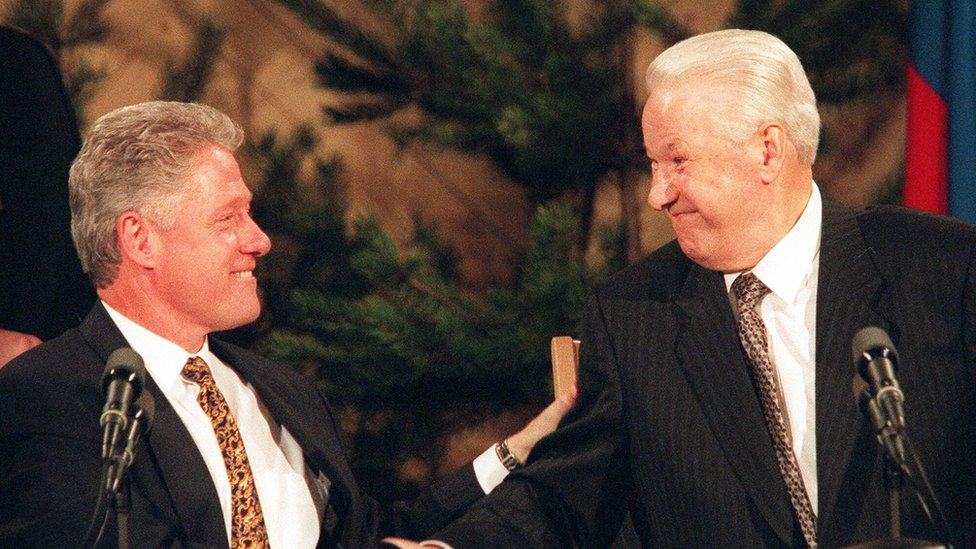 Clinton and Yeltsin 1997