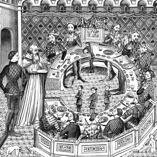 Grabado del rey Arturo y los caballeros de la mesa redonda