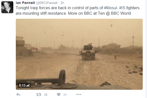 Tweet. Ian Pannell says Iraqi forces are back in control of parts of Mosul
