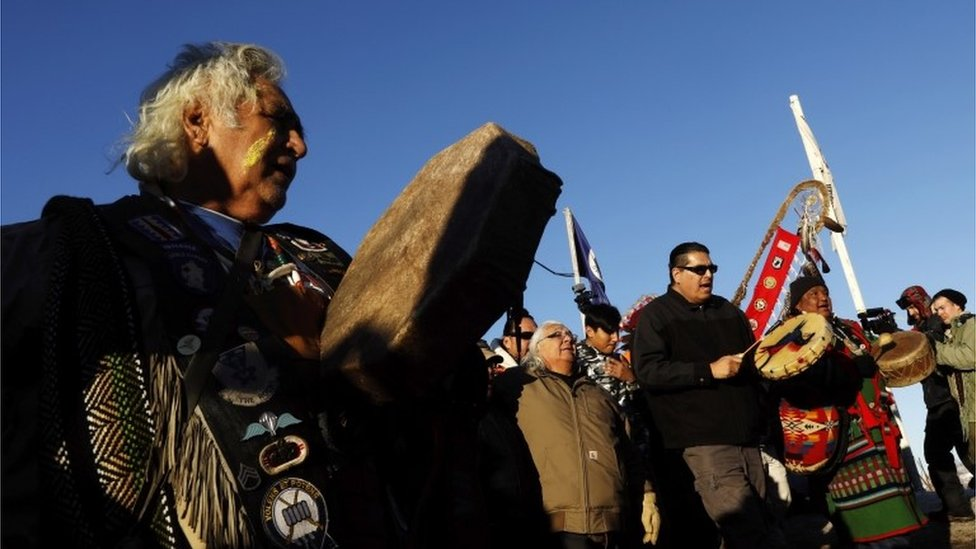 Native Americans celebrating the US Army's decision not to grant access for an oil pipeline in North Dakota, 4 December 2016
