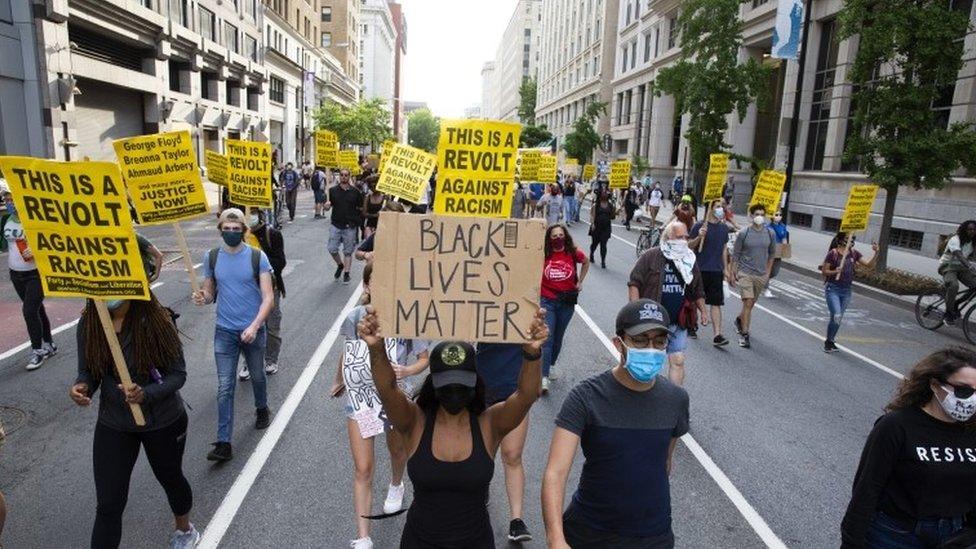 Marcha de Black Lives Matter en Washington D.C. este lunes.