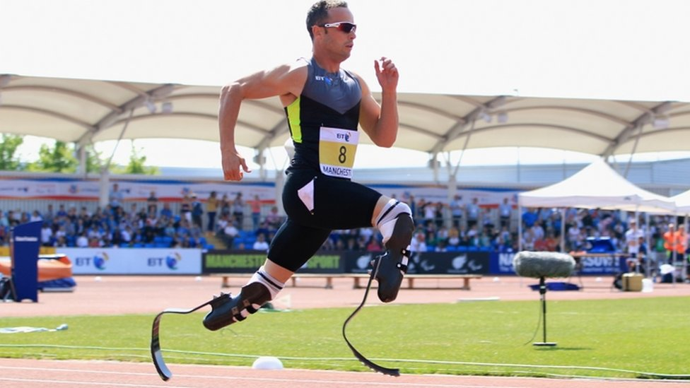 Oscar Pistorius of South Africa on his way to victory in the men's T42/43/44 200m during day one of the BT Paralympic World Cup at Sportcity on 22 May 2012 in Manchester, England