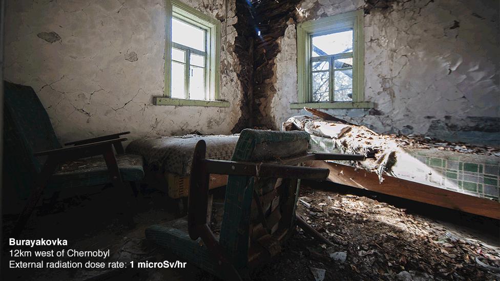 El pueblo abandonado de Burayakovka, a poco más de 10 kilómetros de la central.