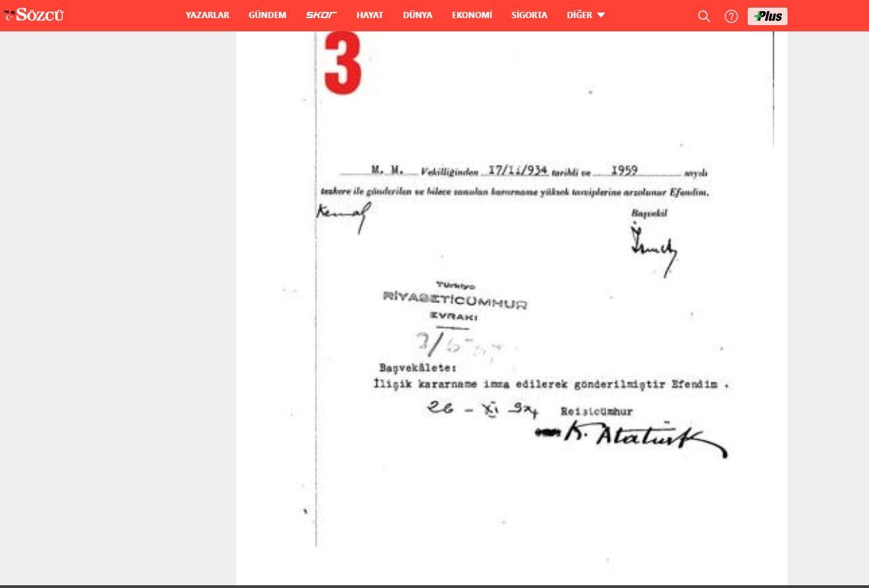 Sinan Meydan'ın yazısında yer verdiği belgelerden birisi