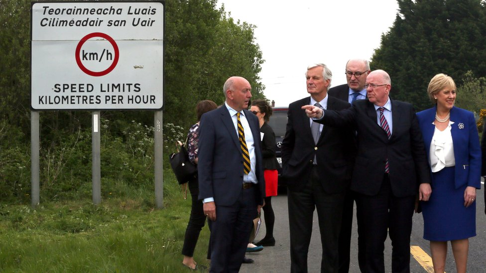 European Commission (EC) member in charge of Brexit negotiations with Britain, Michel Barnier, is shown a border road between the Republic of Ireland and Northern Ireland on 12 May 2017