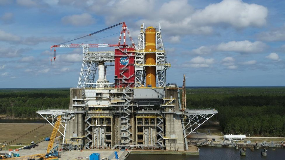 Core stage installed on the B-2 test stand