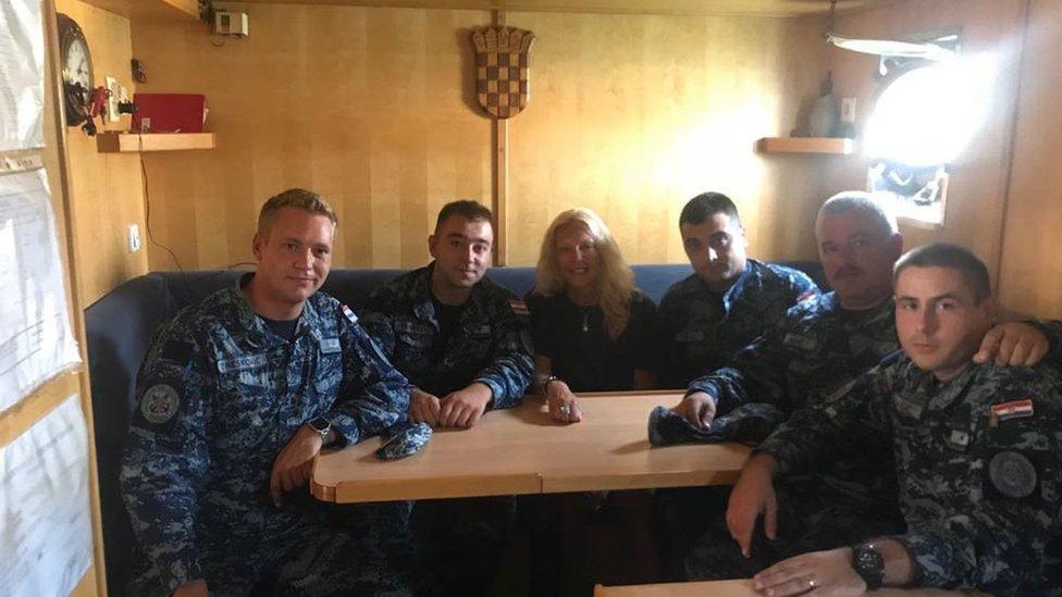 Kay Longstaff along with the Croatian Coast Guard aboard the patrol boat Cavtat