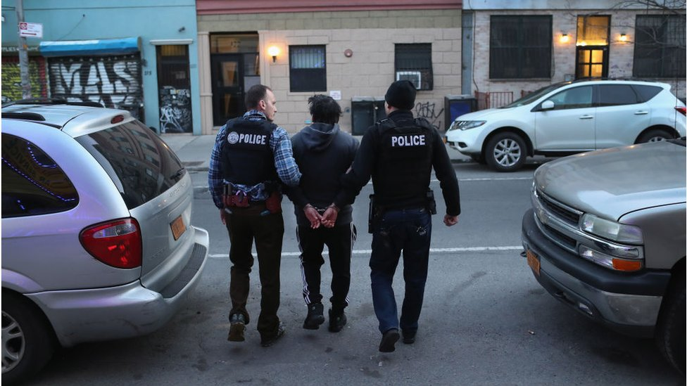 U.S. Immigration and Customs Enforcement (ICE), officers arrest an undocumented Mexican immigrant during a raid in the Bushwick neighborhood of Brooklyn on April 11, 2018 in New York City