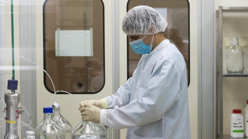 "A specialist works at Binnopharm pharmaceutical plant, part of Alium Group owned by Sistema financial corporation, which develops ""Gam-COVID-Vac"" vaccine against the coronavirus disease (COVID-19) in Zelenograd near Moscow, Russia September 18, 2020"