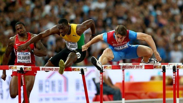 Sergey Shubenkov on his way to claiming World Championship gold