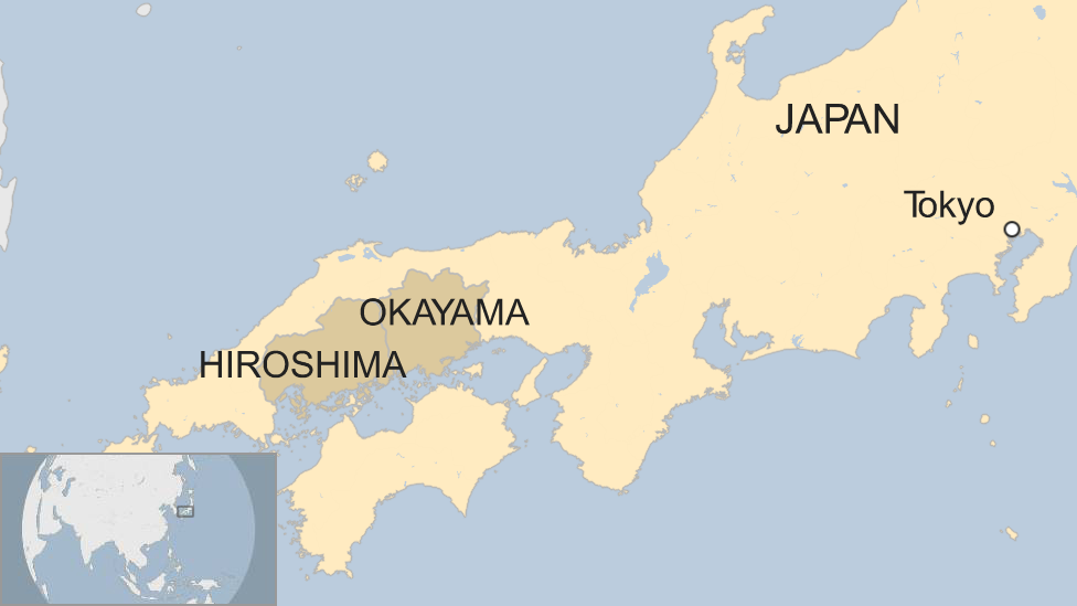 Map showing the location of the Hiroshima and Okayama prefectures in the south west of Japan