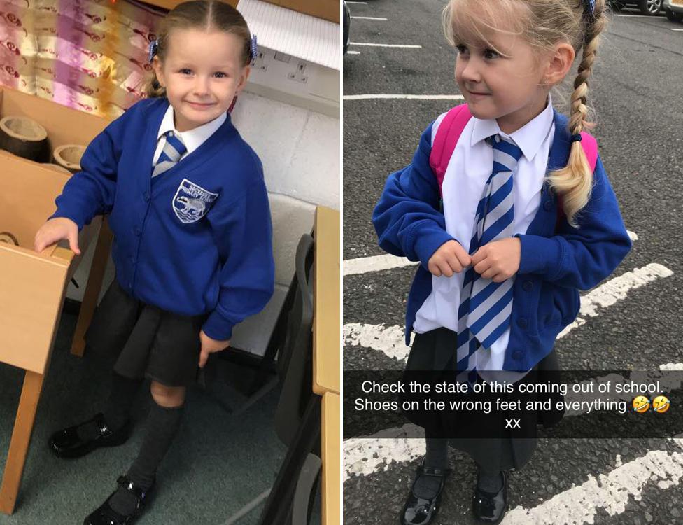 Harper, antes y después de su primer día de clase.