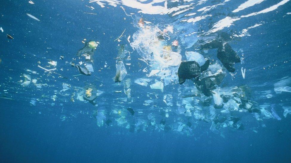 plástico en el oceano