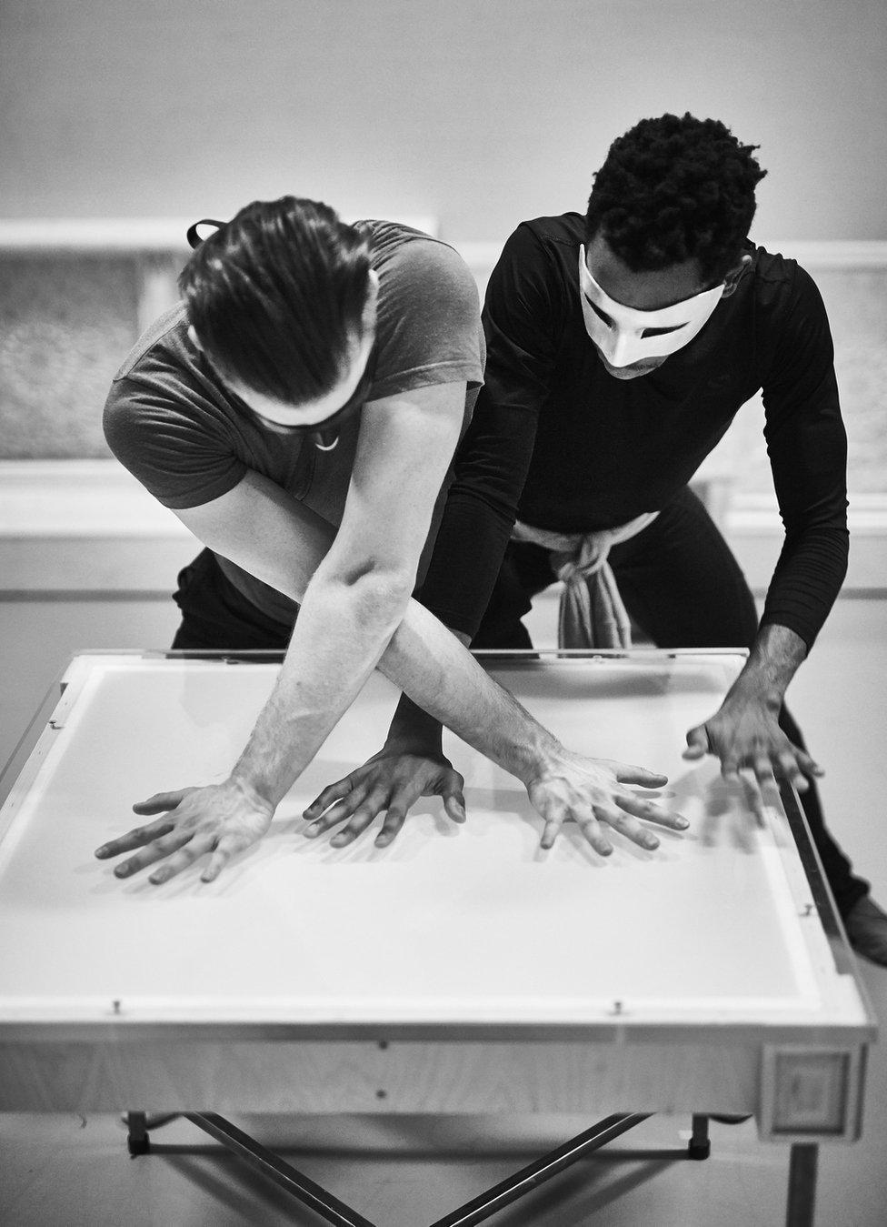 Dancers Matthew Topliss and Mlindi Kulashe in rehearsals