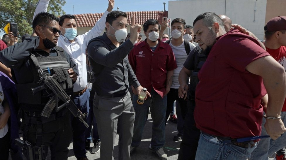 A protest against the lack of safety measures against the coronavirus outside a factory in the Mexican city of Ciudad Juarez