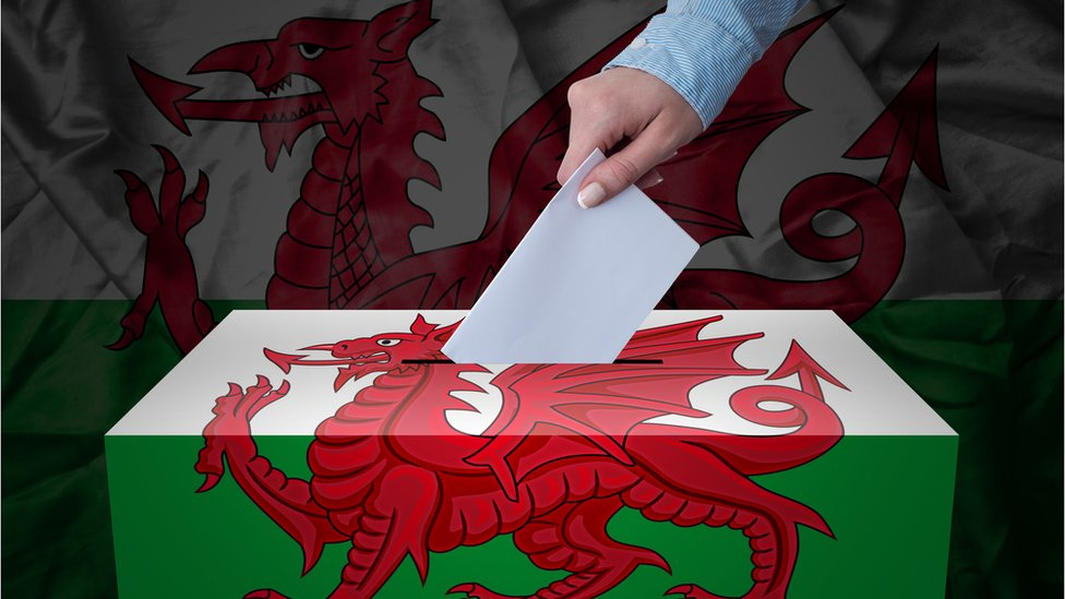 Ballot box with Wales flag