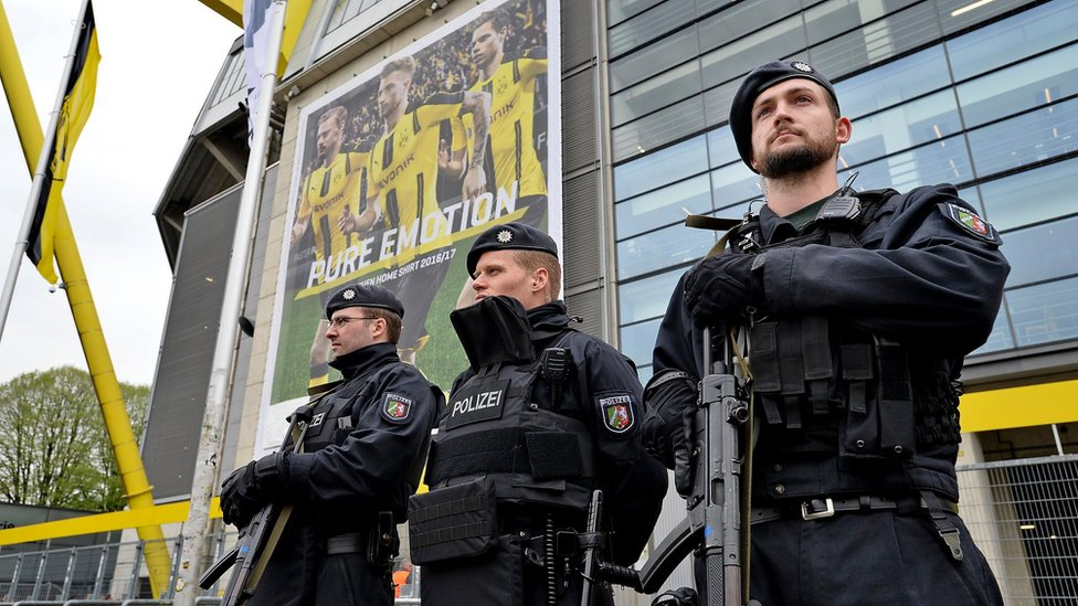 Police secure the stadium prior to the UEFA Champions League quarter final, first leg soccer match between Borussia Dortmund and AS Monaco at the Signal Iduna Park, in Dortmund, Germany, 12 April 2017.