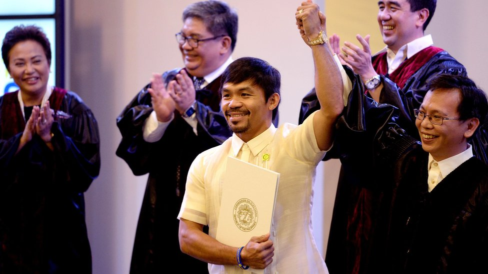 Philippine boxing icon Manny Pacquiao (C) is proclaimed him as a senator, at the Philippine International Convention Centre in Manila on 19 May, 2016.