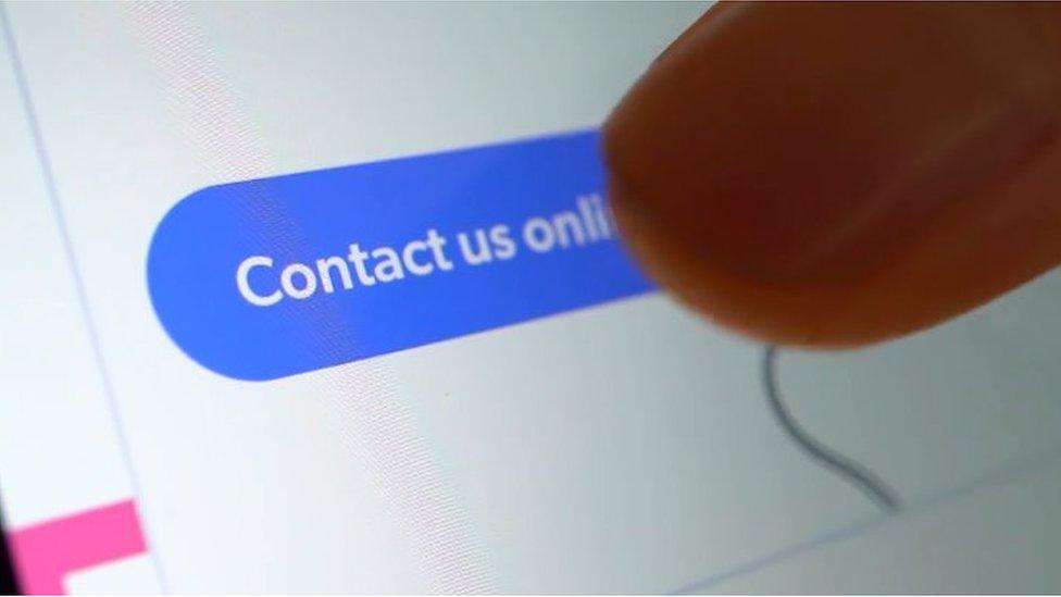 Close up hand on website form