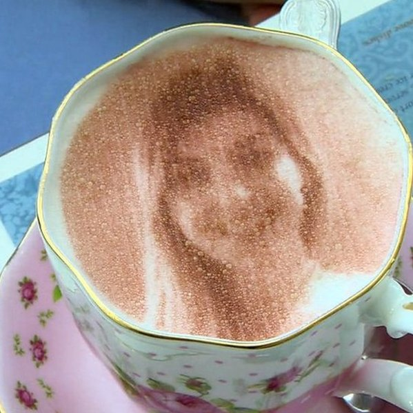 Face in coffee
