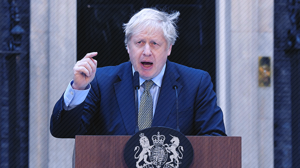 Boris Johnson outside 10 Downing Street on 13 December