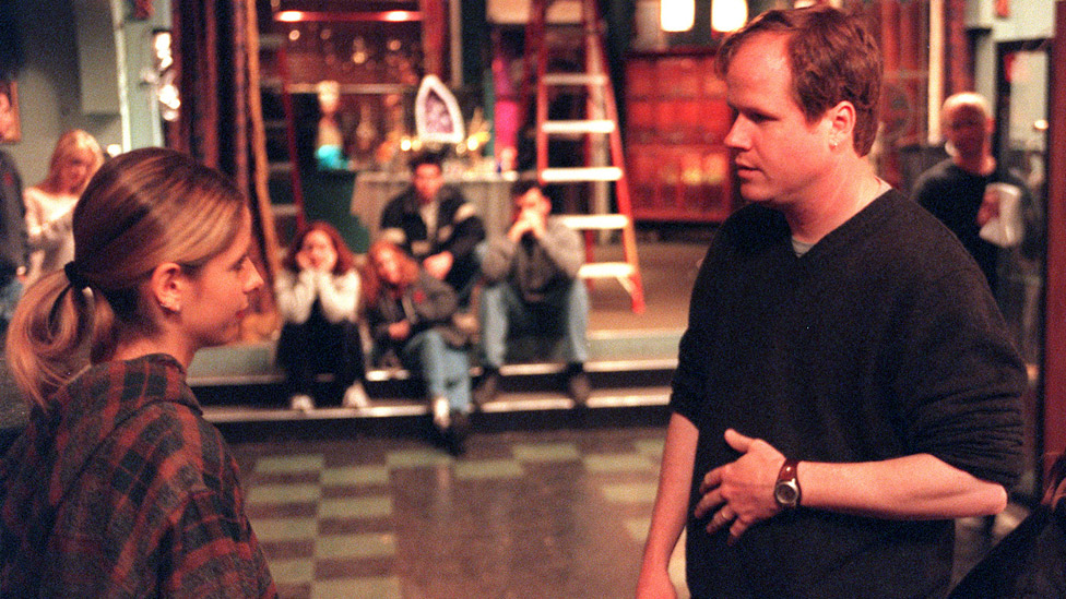 Sarah Michelle Gellar and Joss Whedon on the set of Buffy in 2001