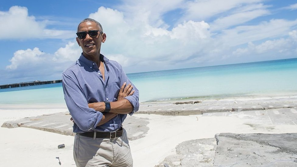 Obama in Hawaii on the beach