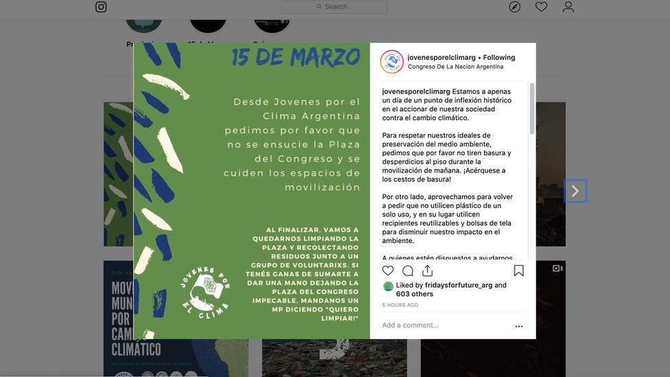 Instagram de La cuenta en Instragram de Jóvenes Por El Clima Argentina, el grupo en el que milita Sofía, tiene un mes y ya fue replicada por varios famosos y tienen 6 mil seguidores.