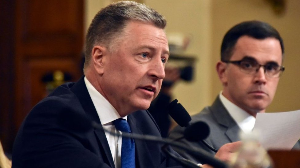 Former US Special Representative for Ukraine Kurt Volker (L); and former Senior Director for Europe and Russia at the National Security Council Tim Morrison