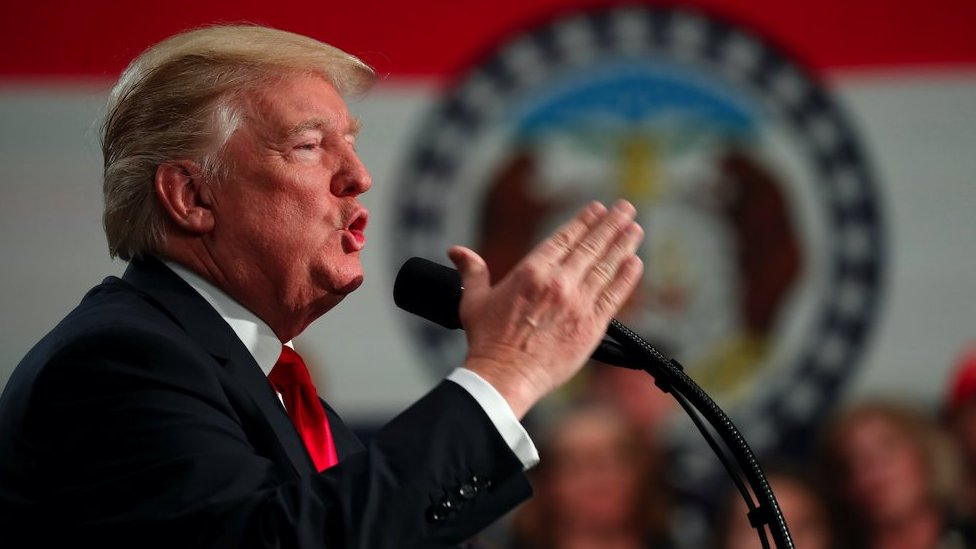 US President Donald Trump speaks during a visit to St Louis, Missouri on 29th November 2017