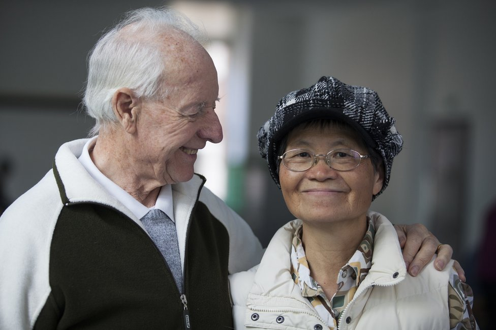An elderly couple in the UK