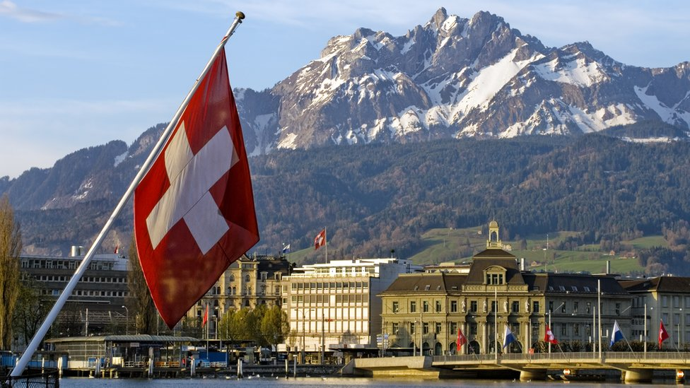 A Swiss flag in the Swiss city of Lucerne