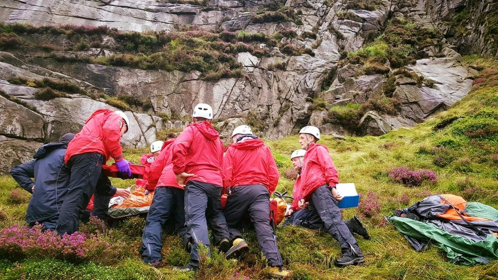 Mourne mountains hiker hit by sheep falling from crag
