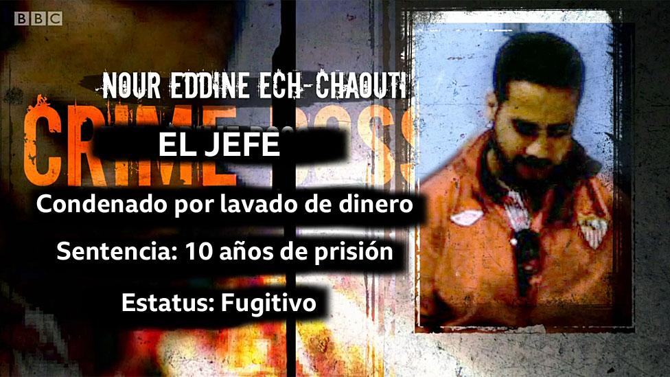 Foto de Nour Eddine y texto: El jefe; Condenado por lavado de dinero; Sentencia: 10 años de prisión; Estatus: Fugitivo